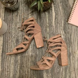 NWOT Steve Madden Taupe Lace Up Heels